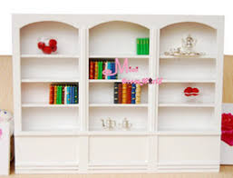 wood white bookshelf bookcase library cabinet reading room 1 12 scale dollhouse miniature furniture affordable wood furniture accessories affordable dollhouse furniture