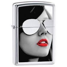<b>Зажигалка Zippo</b> Gold Design Wooman <b>Sunglasses</b> High Polish ...