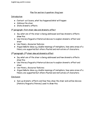 english lang and lit b essay plan for section a question on king