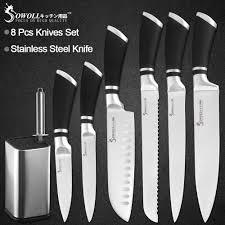 <b>Sowoll Stainless Steel Kitchen</b> Knife Chef Slicing Bread Santoku ...