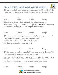 mean median mode range worksheets median mean mode and range problems 1