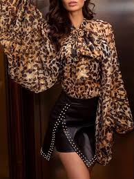<b>Leopard</b> Print Tied Neck Lantern Sleeve <b>Blouse</b> in 2020 | Fashion ...