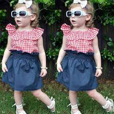 <b>2018 New Kids</b> Girls Clothes Set Baby Girls Outfits Red Plaid T shirt ...