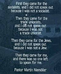 "Niemöller, origin of famous quotation ""First they came for the ..."