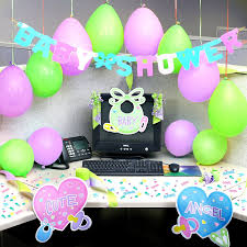 green black mesmerizing: mesmerizing cubicle decorating ideas with purple green balloons also white stained wooden corner desk and black