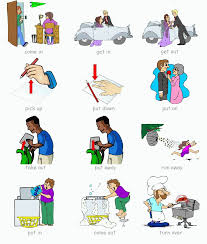 phrasal verbs for kids teacher ethel english is fun common phrasal verbs for everyday physical actions the illustrations are clear except for the action verb put on think put on your shoes