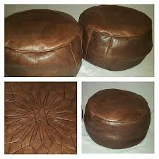 100% Leather Handcrafted Moroccan <b>Pouffe Dark Brown</b> with ...