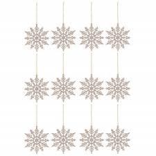 <b>Набор елочных украшений</b> Снежинки <b>10</b> см, пластик, шампань ...