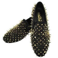 <b>Harpelunde</b> Black <b>Leather Men</b> Dress Shoes Spikes Loafers | eBay