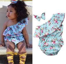 2019 Newborn Baby Girls Floral Romper <b>Oblique Shoulder</b> Bodysuit ...