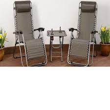 <b>3 Piece</b> Gravity Textoline Brown Chair Table Set <b>Garden</b> Reclining ...