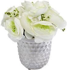 gkibethlehem lighting 7 inch cream ranunculus in ceramic planter with 10 warm white led lights battery operated buy gki bethlehem lighting