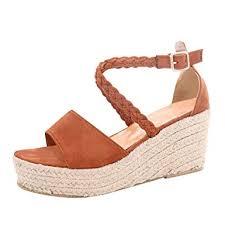 <b>Women</b> Fashion Wedges Shoes Medium <b>Open</b> Wedge Ankle <b>Buckle</b>