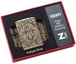 29719 <b>Зажигалка Zippo</b> St. Benedict <b>Design</b>, Armor Antique Brass