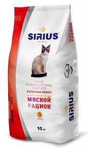 "<b>Сухой корм Sirius</b> (Сириус) ""Мясной рацион"" для взрослых кошек"