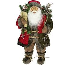 Northlight Standing <b>Santa Claus Christmas</b> Figure with Staff, <b>24</b>
