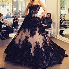 <b>Black</b> and Champagne Wedding Dresses 2019 Full <b>Lace Strapless</b> ...