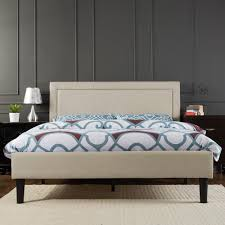 upholstered detailed queen size platform bed in taupe bedroom furniture photo