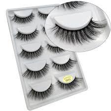<b>5 pairs</b> 100% Real <b>Fake</b> Mink Eyelashes <b>3D</b> Natural False ...