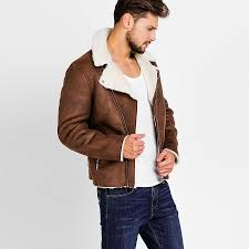 Faux Fur <b>Collar Faux Leather</b> Jacket Men Winter <b>Brown</b> Suede ...