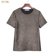 Women <b>Shiny Lurex Tops Summer</b> Cap Sleeve Basic T Shirt O Neck ...