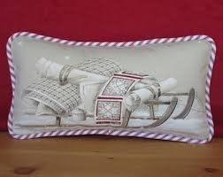 cabin decor lodge sled: christmas pillow sled pillow red and beige christmas paris fabric quilt on sled