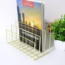 NEW Desktop bookshelf wrought <b>iron metal three grid</b> finishing ...