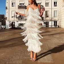 <b>Sexy</b> White <b>Tassel Backless</b> Sleeveless Mini <b>Dress</b> in 2019 | Mood ...