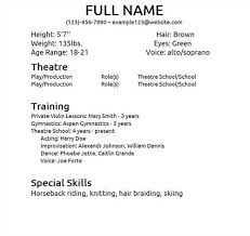 sample theatre resume template free resume sample sample theater resume sample musical theatre resume