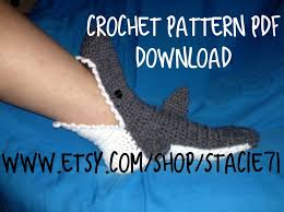 pattern for crocheted shark socks baby child and adult 128270zoom
