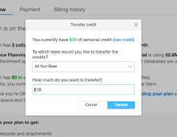 applying personal credits to a team airtable support clicking the blue transfer will bring up a window in which you can enter the number of credits you wish to transfer