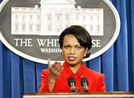Condi Rice at the White House podium.