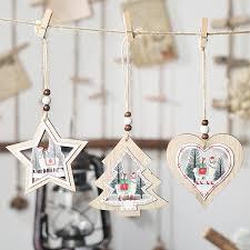 1Pc Alpaca <b>Star</b>/Heart Type <b>Christmas Wooden Pendants Xmas</b> ...