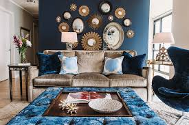 brown sofa living room living room transitional with blue and white blue blue walls brown furniture