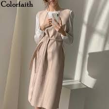 Colorfaith New <b>2020 Autumn Spring</b> Women Dresses Sashes Solid ...