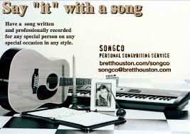 writing service proposals brett houston s songco personal song writer songwriting songwriter song writing service for special unforgettable gifts