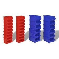 vidaXL Wall Mounted Garage <b>Plastic</b> Storage Bin Set <b>30 pcs Blue</b> ...