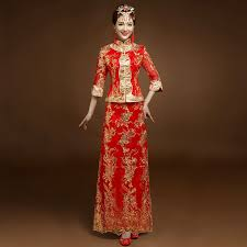 Vintage red Bridal Embroidery <b>Cheongsam Modern</b> Traditional ...