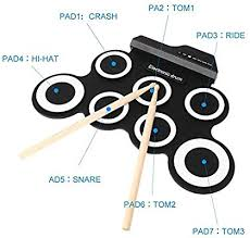 <b>Portable Electronic Drum Foldable</b> Roll up Drum Pad Kits Musical ...