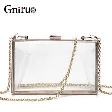 <b>Acrylic</b> Transparent Clutch Chain Box Women <b>Shoulder</b> Bags Hard ...