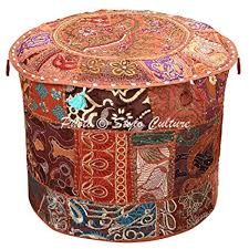 Stylo Culture Ethnic Bohemian <b>Patchwork Pouf</b> Cover <b>Round</b> ...