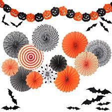 Yunison <b>Halloween</b> 12pc Paper Fan Decorations Kit <b>DIY</b> Ceiling ...