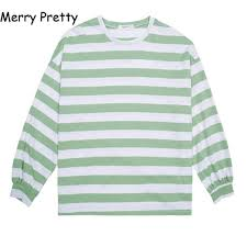 <b>Merry Pretty</b> 2018 Korean <b>Spring Autumn</b> Striped T Shirt Women ...
