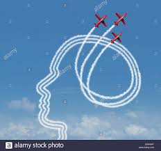 personal achievement and career aspiration concept as a group of personal achievement and career aspiration concept as a group of acrobatic jet airplanes performing an air