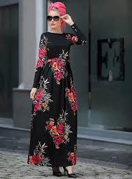 2019 Modest Muslim <b>Women Floral Print</b> Black Kaftan Dress <b>S 2XL</b> ...