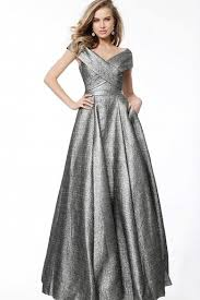 <b>Off Shoulder</b> V Neck <b>Ball</b> Gown - District 5 Boutique