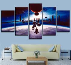 Modern <b>Wall Art Canvas HD</b> Print Painting 5 Piece Space Station ...