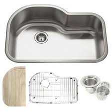 undermount kitchen sink stainless steel:  inch stainless steel undermount offset single bowl kitchen sink with accessories