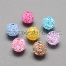 Wholesale Transparent Crackle <b>Acrylic</b> Beads, Round, <b>Mixed Color</b> ...