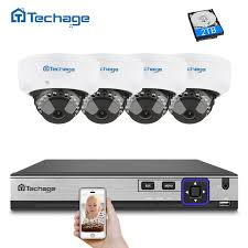 <b>Techage H</b>.<b>265 4CH</b> 5MP POE NVR CCTV Camera System ...